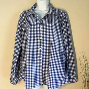 Blue white gingham shirt long sleeve XL